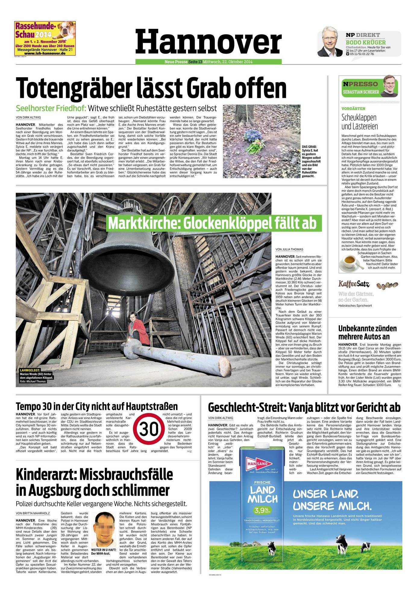 Hannover, Presse, Bestattung