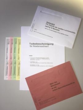 Unterlagen der Stadt Hannover für die Ausstellung einer Todesbescheinigung