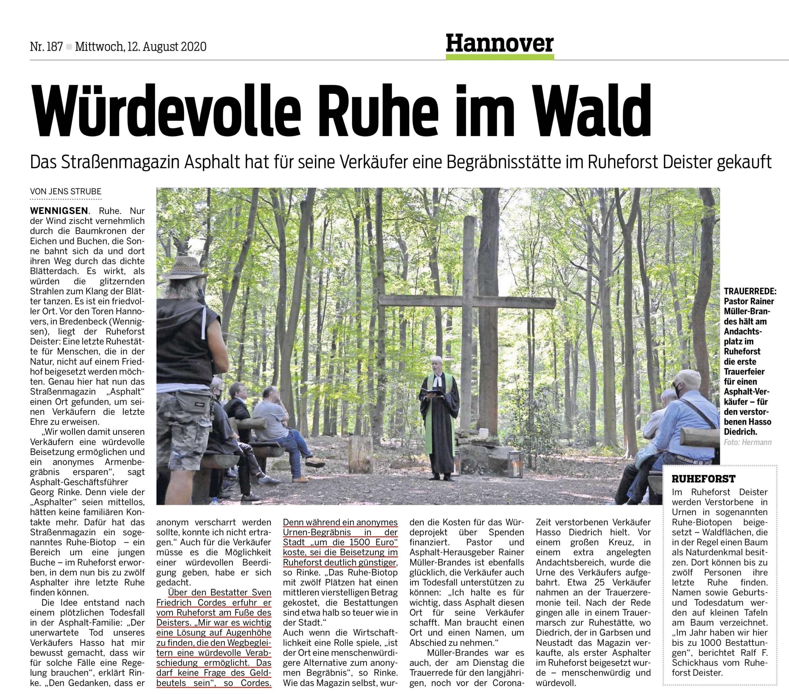 Cordes Bestattungen Hannover sorgt für würdevolle Beerdigung