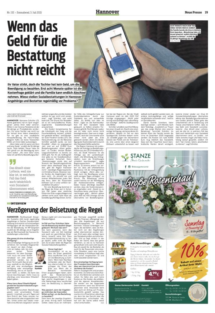 Sozialamt Hannover und Region: Wer übernimmt die Kosten bei Bestattungen?